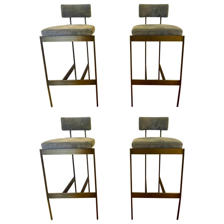 newest 298e7 318ef Set of Four Powell And Bonnell 'Alto' Suede Bar Stools