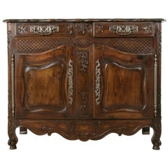 Late 19th Century Hand-Carved French Walnut Buffet or Sideboard from Provence