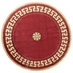 Paule Leleu, Round Center Carpet with Geometric Trim, France, 1957