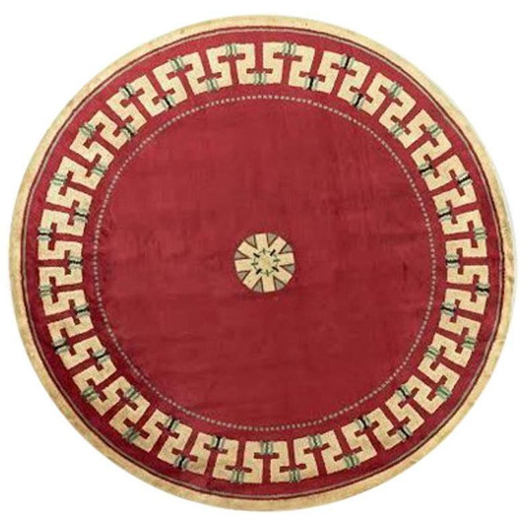 Paule Leleu round center carpet with geometric trim, 1957, offered by Maison Gerard
