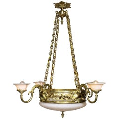 French Neoclassical Style Gilt Bronze, Alabaster and Opaline Glass Chandelier