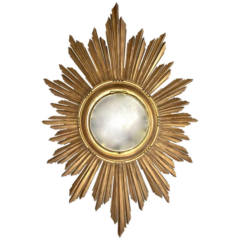 French Soleil Sunburst Giltwood Carved Wall Mirror