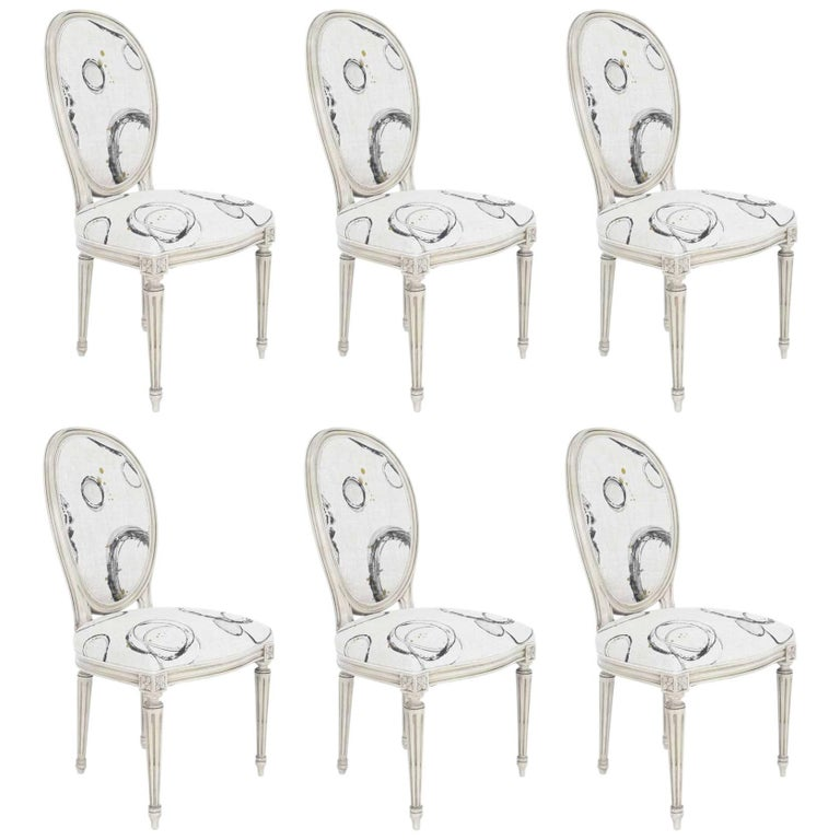 Set of Six Louis XVI Dining Chairs by Widdicomb