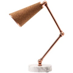 Lanterna Table Lamp in Carrara Marble, Cork and Copper with Adjustable Arms