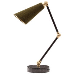 Lanterna Table Lamp in Black Marble, Felt and Leather Clad Brass Adjustable Arms