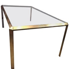 Mid-Century Modern Sculptural Brass Dining Table with Tinted Glass