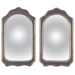 Pair of Painted and Gilt Convex Mirrors