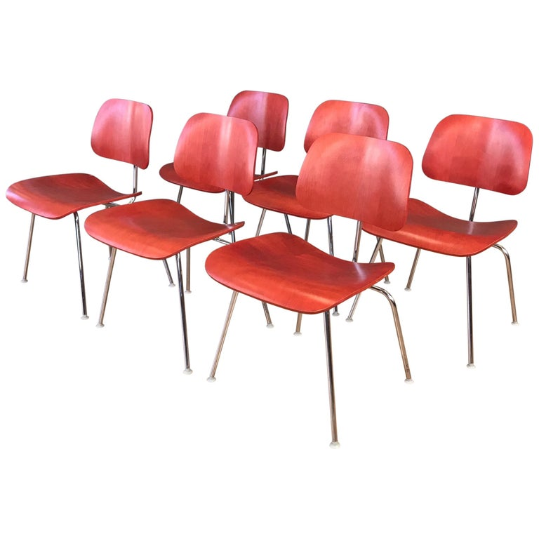 Eames for Herman Miller Aniline Red DCM Chairs