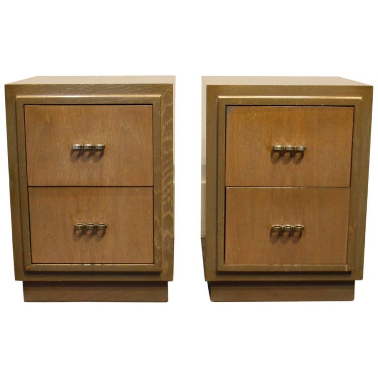 Modern 1950s Nightstands in the Manner of Paul Frankl with Brass Knuckle Pulls For Sale