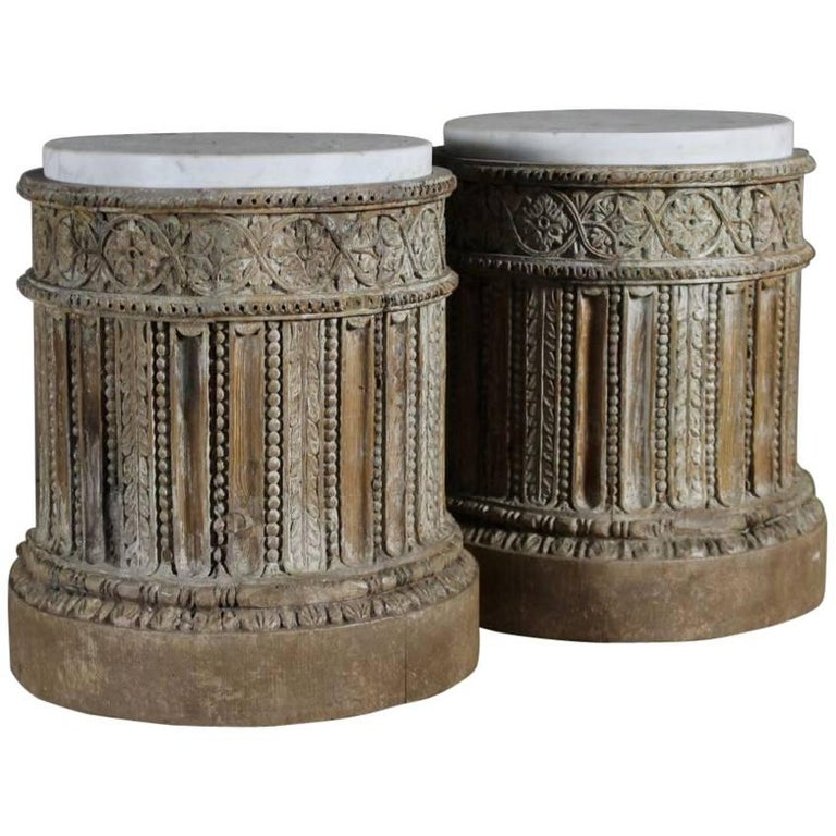 18th Century Pair of English Table Pedestals with Marble Tops  For Sale
