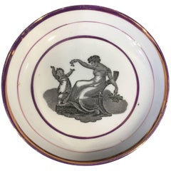 Thomas Wolfe & Co Cup and Saucer, Bucks Print in Purple Lustre Border