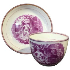 Purple Lustre Cup and Saucer with Purple Print, circa 1820