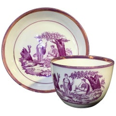 Thomas Wolfe & Co Cup and Saucer, Shepherdess in Purple Bat Print, circa 1815