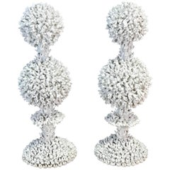 "Pair of French White ""Branch Coral"" Topiaries"
