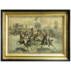 "19th Century Colored Print ""A Game of Polo"""
