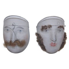 Pair of Masks, Fine and Decorative Wire Mesh, Nice Carnival Mask, circa 1900
