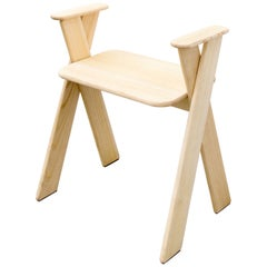 Apart Stool or Chair in Brushed Ash with Armrests and Crossed Legs