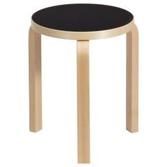 Authentic Stool 60 in Birch with Black Linoleum Seat by Alvar Aalto & Artek