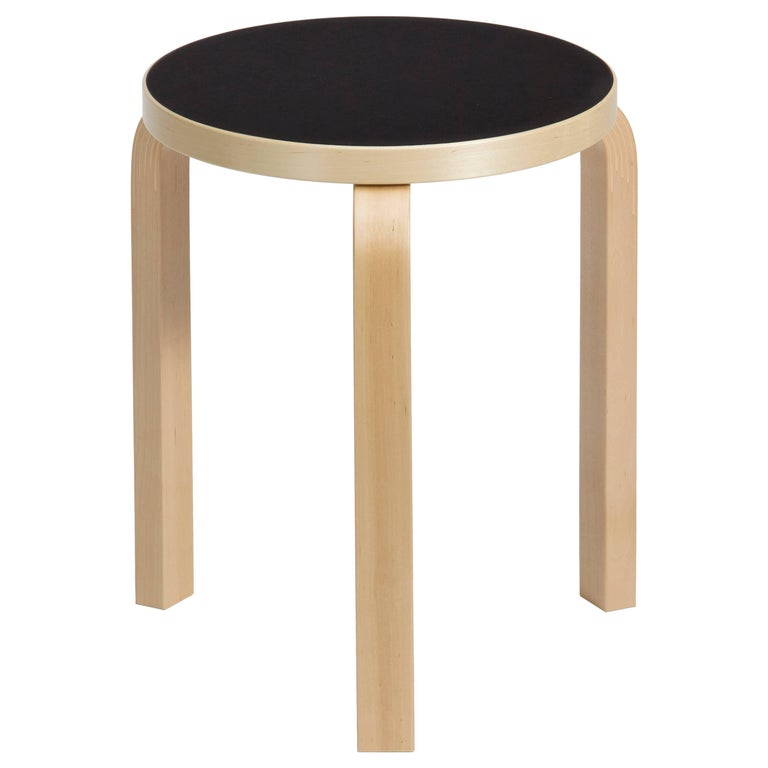 Authentic Stool 60 in Lacquered Birch with Linoleum Seat by Alvar Aalto & Artek For Sale