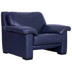 Ewald Schillig Designer Armchair Leather Blue Couch Modern