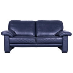 Ewald Schillig Designer Two-Seat Sofa Blue Leather Couch