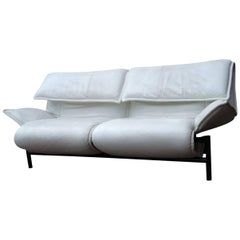 White Leather Sofa by Vico Magistretti for Cassina, Model Veranda, 1980s