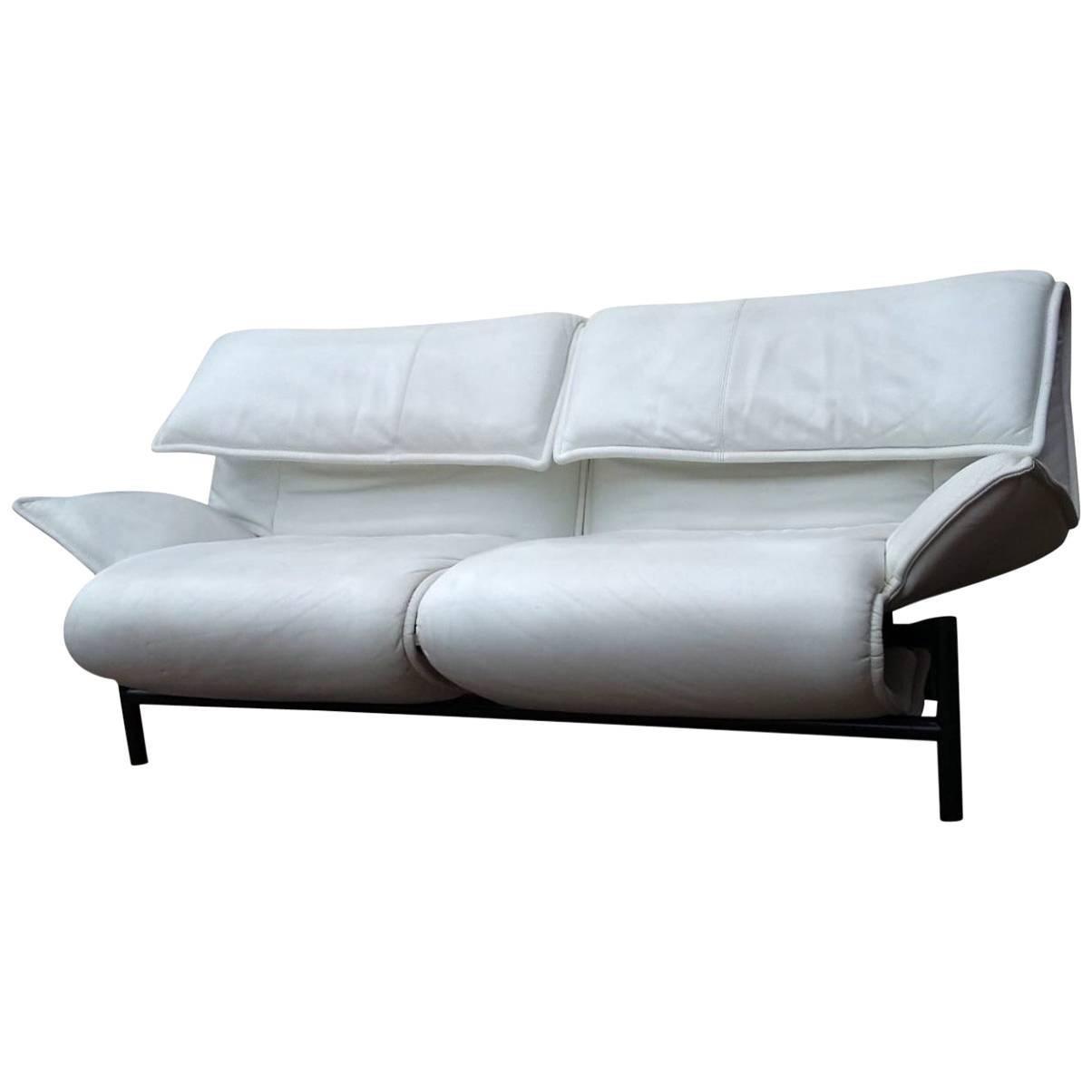 White Leather Sofa By Vico Magistretti For Cassina, Model Veranda, 1980s