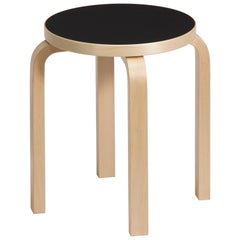 Authentic Stool E60 in Birch with Black Linoleum Seat by Alvar Aalto & Artek