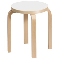 Authentic Stool E60 in Birch with White Laminate Seat by Alvar Aalto & Artek
