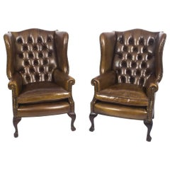 Pair of Leather Chippendale Wing Back Armchairs Walnut