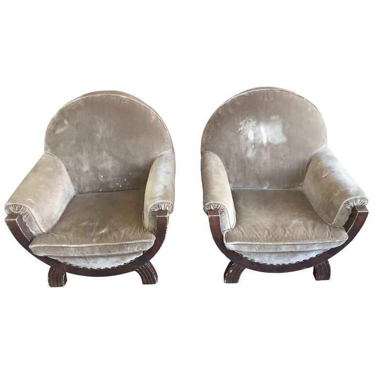 Armchairs Art Deco Silvered