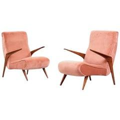 Pair of Scandinavian Modern Style Pink Velvet Upholstered Armchairs