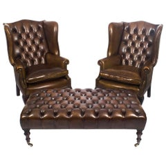 Pair of Leather Chippendale Wing Back Armchairs with Large Stool / Coffee Table