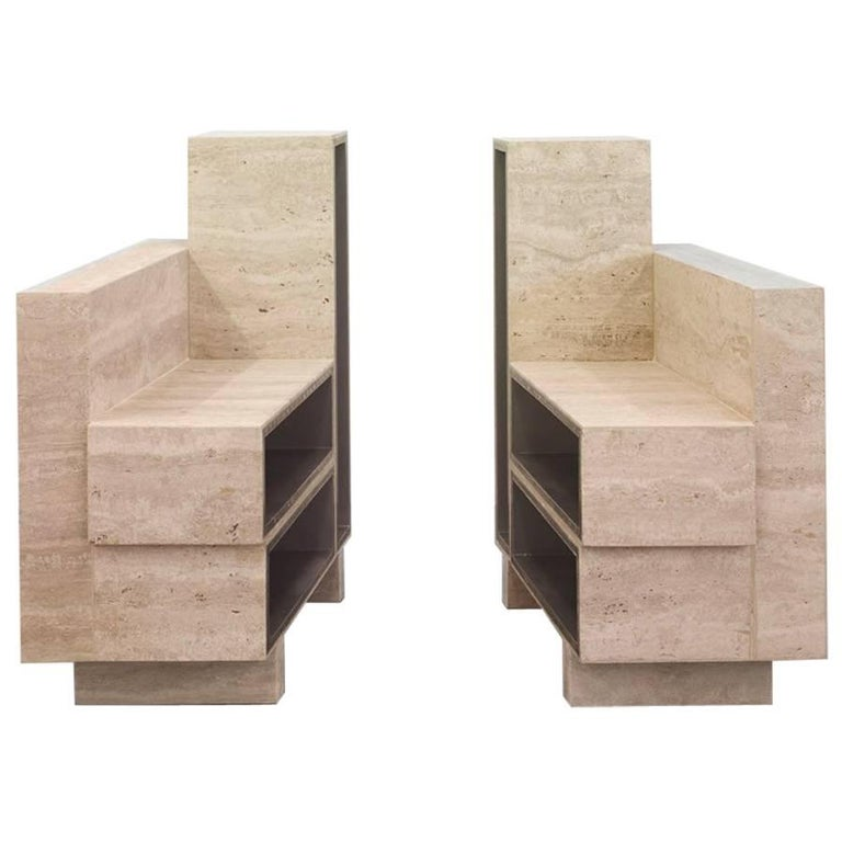 BDC Side Table in Travertine and Alucore, Left or Right