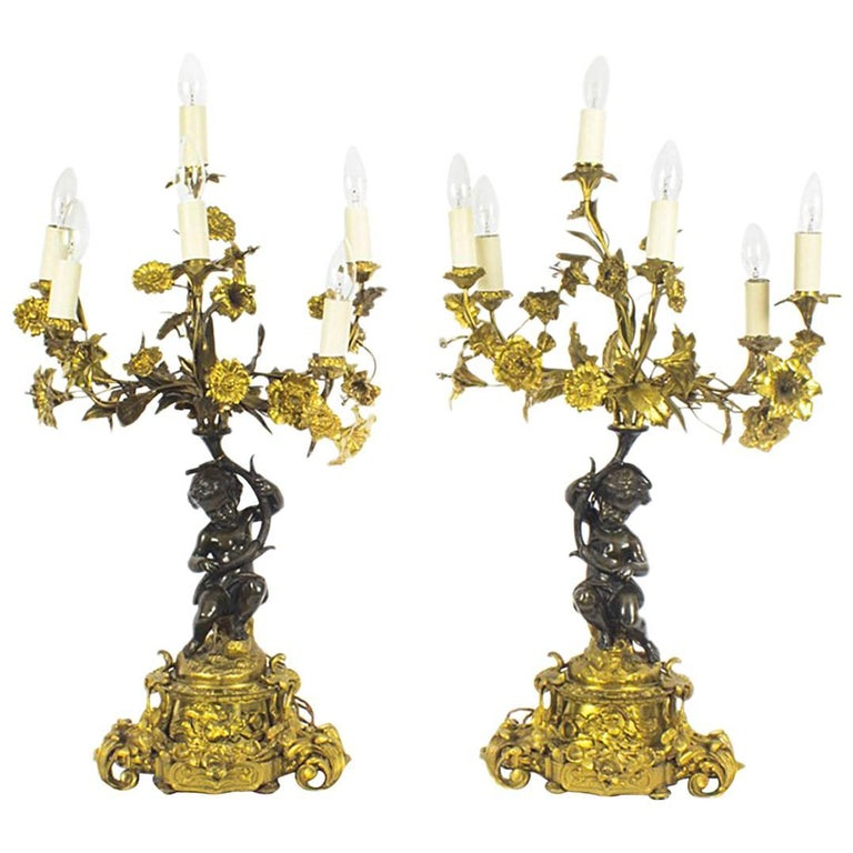 Antique Pair of French Ormolu and Patinated Bronze Table Lamps, 19th Century