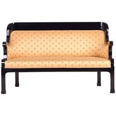 Unique Czechoslovak Empire Sofa, Completely Restored, Black Lacquer