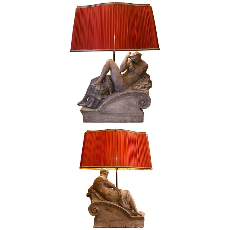 Pair of Plaster Group Lamps in the Manner of Michel-Angelo The Night and The Day For Sale