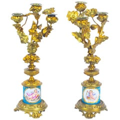 Antique Pair of Sèvres Bleu Celeste Porcelain Ormolu Candelabra, 19th Century