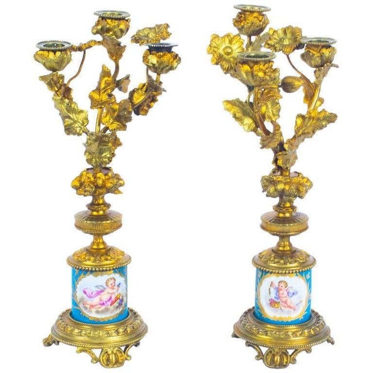 Antique Pair of Sèvres Bleu Celeste Porcelain Ormolu Candelabra, 19th Century For Sale