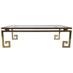 Brass and Chrome Greek Key Coffee Table in the Style of Maison Jansen
