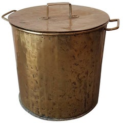 Late 19th Century Large Size French Brass Pan with Lid