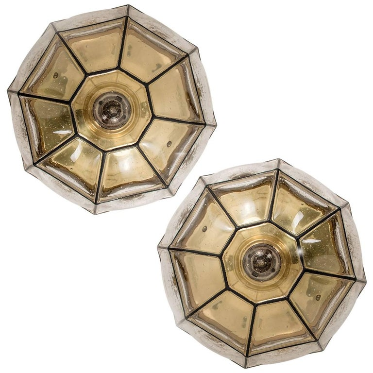 Pair of Iron and Clear Glass Lantern Flush Mounts/ Wall Lights by Limburg 1960s