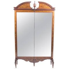 Antique Walnut Marquetry Mirror Screen / Cheval Mirror, 19th Century