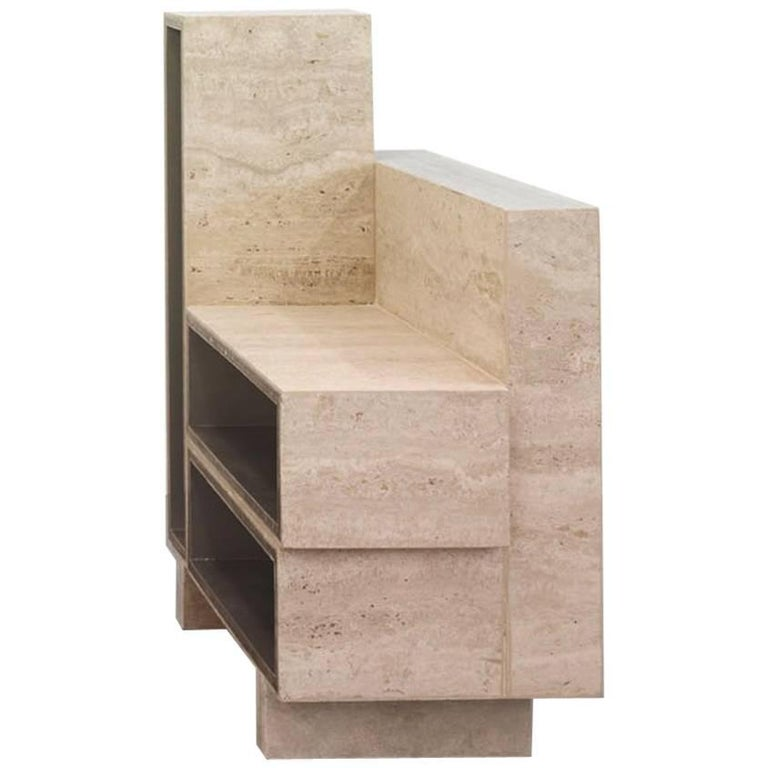 BDC Side Table in Travertine and AluCore, Right
