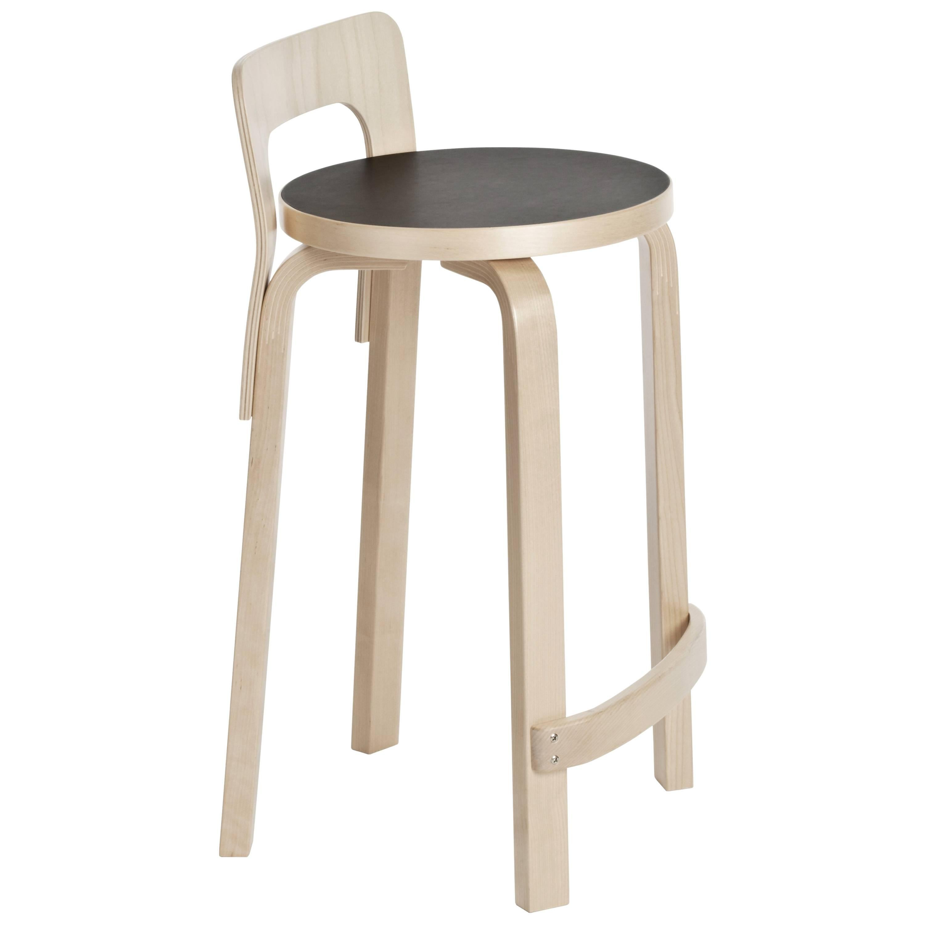 Authentic High Chair K65 In Birch With Linoleum Seat By Alvar Aalto And  Artek For Sale At 1stdibs