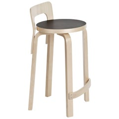 Authentic High Chair K65 in Birch with Linoleum Seat by Alvar Aalto & Artek