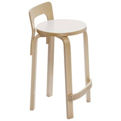 Authentic High Chair K65 in Birch with White Seat by Alvar Aalto & Artek