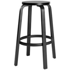 Authentic High Stool 64 Bar Stool in Black Lacquer by Alvar Aalto & Artek