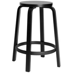 Authentic High Stool 64 Counter Stool in Black Lacquer by Alvar Aalto & Artek
