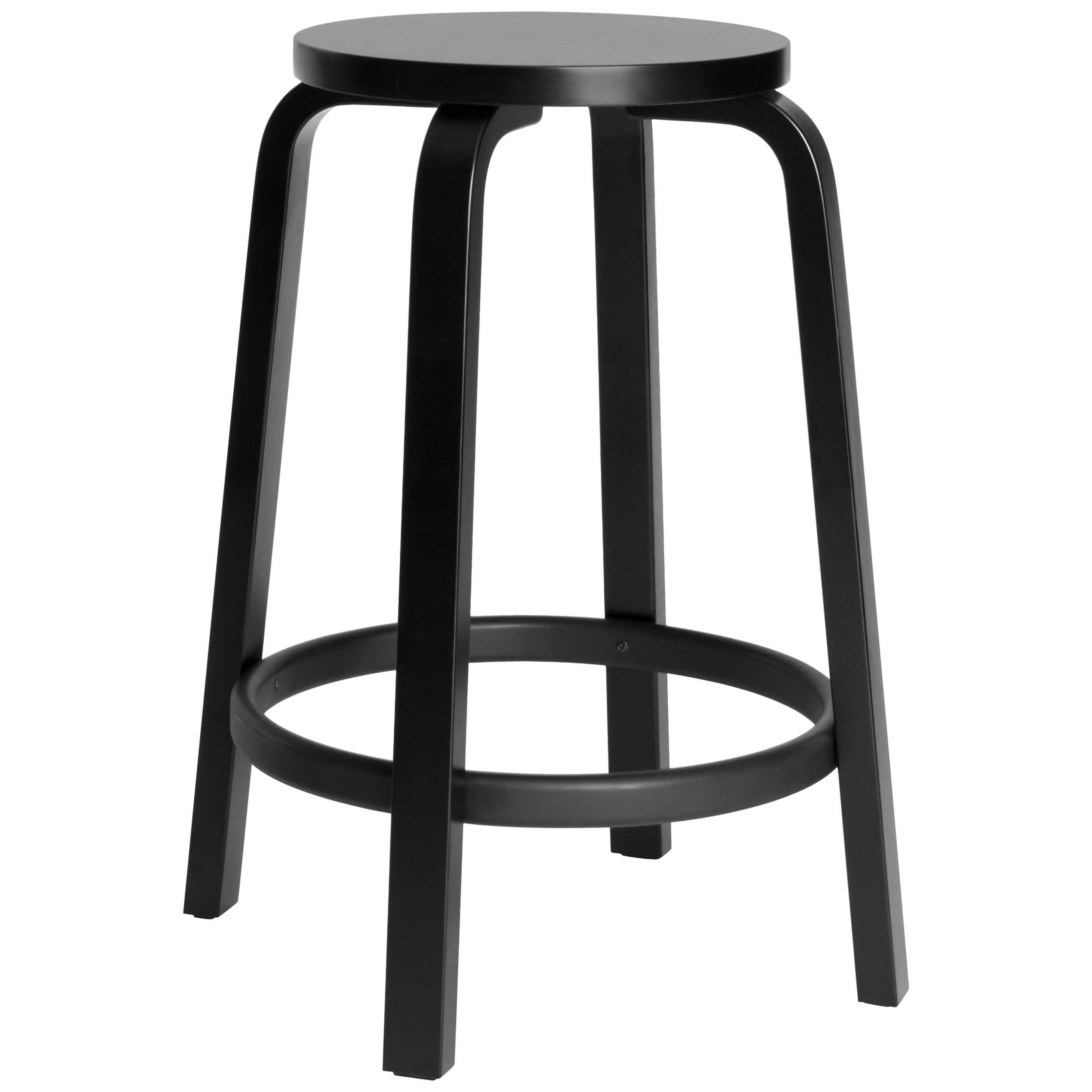 Marvelous Authentic High Stool 64 Counter Stool In Black By Alvar Aalto U0026 Artek For  Sale